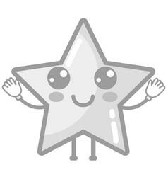 Grayscale kawaii cute happy star sparkly vector