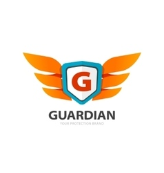 Guardian protection logo wings with shield vector