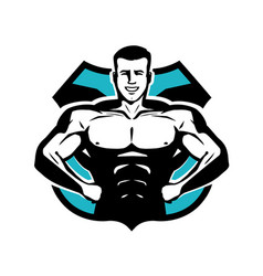 Gym bodybuilding sport logo or label happy vector
