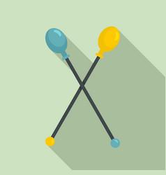 gymnastics sticks icon flat style vector image