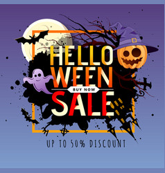 Halloween big sale poster with jack o lantern vector