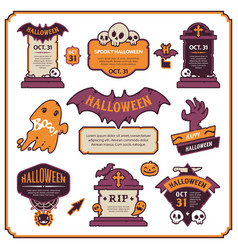 halloween design labels color set vector image