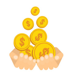 Hand catch falling gold money cash coins vector
