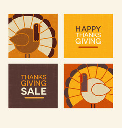 happy thanksgiving modern turkeys and text set vector image