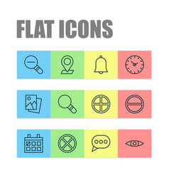 Icons set collection of refuse bell pinpoint vector