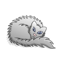Light Grey Fluffy Cat vector image