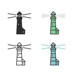 lighthouse emitting light tower building vector image