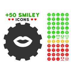 lips smiley gear icon with bonus emoticon set vector image