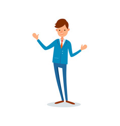 man greeting waving hand to say hello welcome vector image