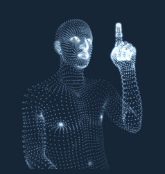 man pointing his finger 3d model of man geometric vector image