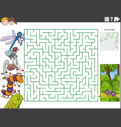 Maze educational game with cartoon insects vector