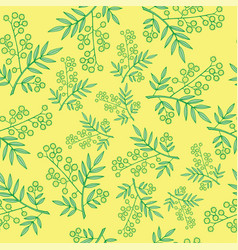 Mimosa branches seamless pattern cartoon and vector