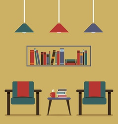 Modern design interior chairs and bookshelf vector