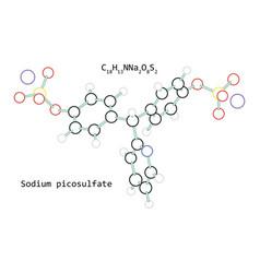 molecule sodium picosulfate c18h13nna2o8s2 vector image