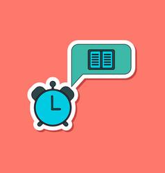 Paper sticker on stylish background book alarm vector
