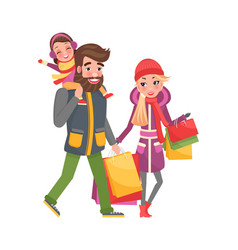 parents and little girl do shopping on christmas vector image