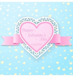Pink paper heart with ribbon and lace vector