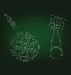 piston and wheel with shock absorber on a green vector image