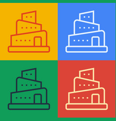 Pop art line babel tower bible story icon isolated vector