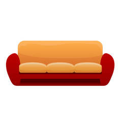 red yellow sofa icon cartoon style vector image