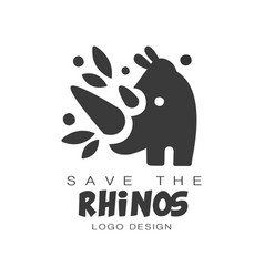 save the rhinos logo design protection of wild vector image
