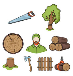 sawmil and timber set icons in cartoon style big vector image