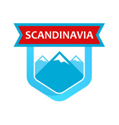 Scandinavian rocks on emblem vector