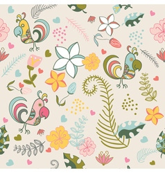 seamless pattern with parrots and tropical plants vector image