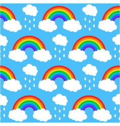 Seamless pattern with rainbows and clouds on a blu vector