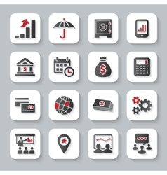 set flat modern business web icons vector image