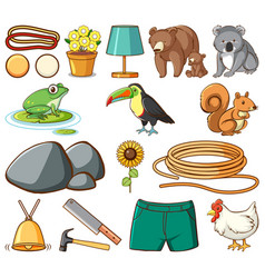 Set many animals and construction tools on vector