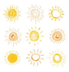 set sun in hand drawn style illustration vector image