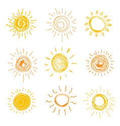 set sun in hand drawn style vector image