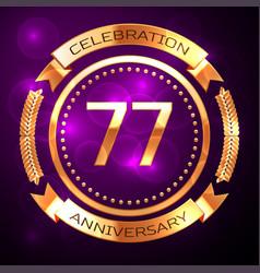 Seventy seven years anniversary celebration vector