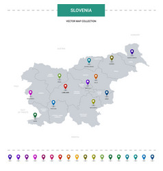 Slovenia map with location pointer marks vector