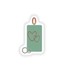 stylish paper sticker on white background candle vector image