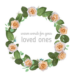 Stylish wreath round frame from creamy rose vector
