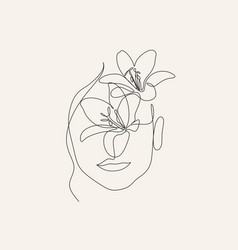 surreal face continuous line drawing face vector image