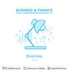 table lamp overtime symbol on white vector image