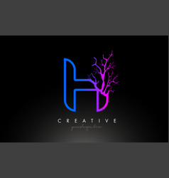 tree letter h design logo with purple blue tree vector image