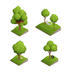 Tree swing icon set vector