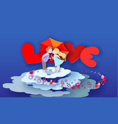 valentines day card loving couple kisses behind vector image