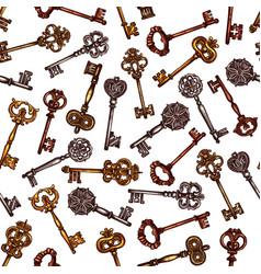 Vintage brass keys seamless pattern vector