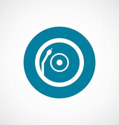Vinyl turntable icon bold blue circle border vector