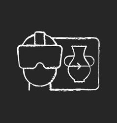 Vr chalk white icon on dark background vector