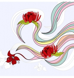 waves with flowers vector image