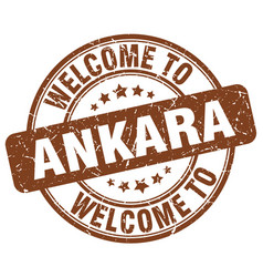 Welcome to ankara brown round vintage stamp vector