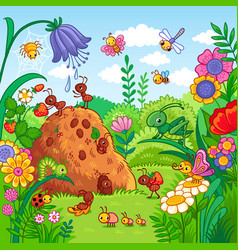 with an anthill and insects vector image