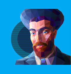 Young jew in low polygon style vector