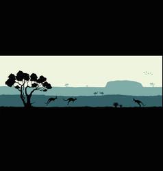 australian landscape black silhouette vector image